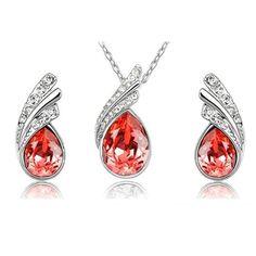 Angel Tear Drop Austrian Crystal Pendant & Earring Set