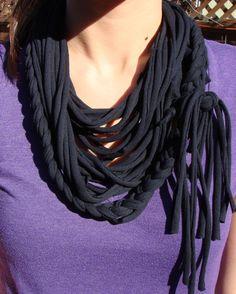 Braided t-shirt scarf