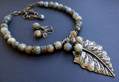 "Set "" labradorite "", handmade set, gemstone set, bronze leaf, unique set by HandmadeMinola on Etsy"