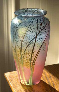 """Sunset Landscape Vase - Medium Mesa""  Art Glass Vase  Created by Peet Robison"