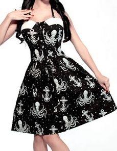 So much win. Octopus Pinup Rockabilly Halter Punk Nautical Dress Medium M   eBay