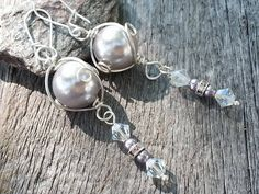 Lustful-Handmade Earrings-Wire wrapped Light Lavender Glass Pearl-Swarovski Glass Pearls in Light Mauve-Swarovski Crystals in Clear Midnight by JoeisStuff on Etsy
