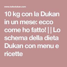 10 kg con la Dukan in un mese: ecco come ho fatto!     Lo schema della dieta Dukan con menu e ricette