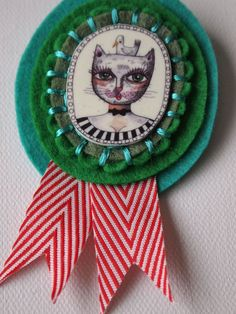 Felt Badge, Pin, Brooch, Caroline Kitty