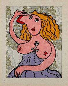 Aguafuerte - Enrico Baj - Figura Femminile