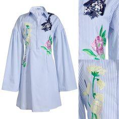 Blumarine 2016 SS Striped Cotton Poplin Mini Short Dress