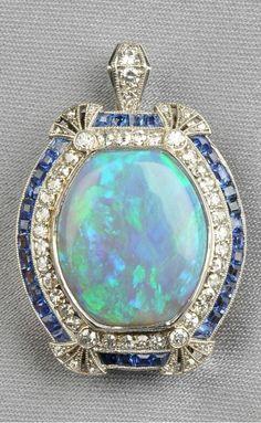 Platinum, opal, sapphire, and diamond pendant