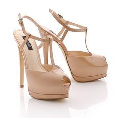 Patent Patform Peep Toe Heels in Taupe.