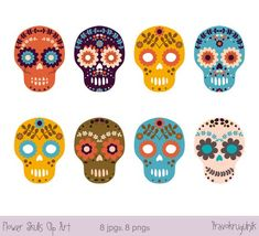 Free Sugar Skull Flower Skulls Halloween Clipart Day Of The Dead Crafter File SVG graphics created in Inkscape with public domain license SVG cut files silhouettes and transparent PNG clip art. Halloween Clipart, Halloween Skull, Adult Halloween, Totenkopf Tattoos, Colorful Skulls, Day Of The Dead Skull, Clip Art, Flower Skull, Free Svg Cut Files