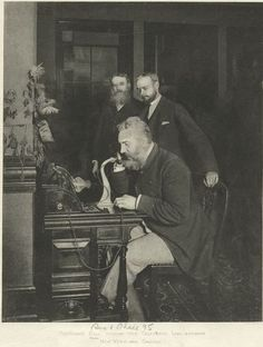 "Professor Bell opening the line between New York and Chicago [from Sun and Shade, 1895]  Today in 1876 Alexander Graham Bell was granted a patent for an invention he calls the ""telephone""."
