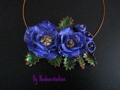 Collier ras de cou grosses fleurs fimo  https://www.facebook.com/pages/Nadiacr%C3%A9ation-Fimo/296906063701129