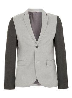 Grey Contrast Sleeve Skinny Blazer
