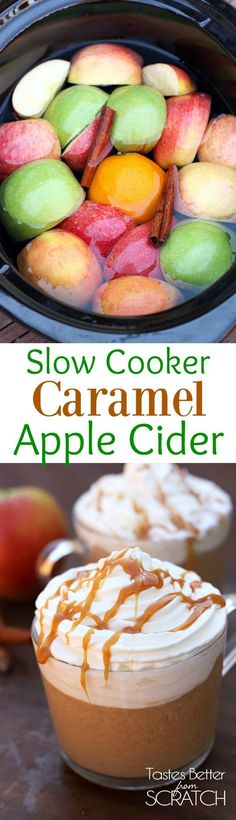 Slow Cooker Caramel Apple Cider is a fun and easy holiday drink the whole family will love! Recipe from Tastes Better From Scratch