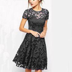 24a545c1d8a7 5XL Plus Size Fashion Women Elegant Sweet Hallow Out Lace Dress Sexy Party  Princess Slim Summer