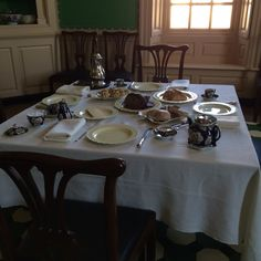 """""""Foodways. Dining is social in colonial era Food played a very important part in the social lives of 18th-century Virginians. Aside from providing basic sustenance, dining was also one of the most important ways that colonial Virginians exchanged information. The dining process might last for two hours in some upper-class households. It wasn't unusual for a conversation that began at a dinner table to continue well into the night"""". Breakfast Presentation, Colonial Williamsburg, Households, Dinner Table, 18th Century, Conversation, Table Settings, Dining, Night"""