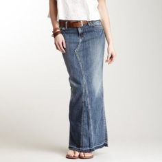Silver Jeans Skirts - Boho Chic Silver Jeans 'Adele' Denim Maxi Skirt