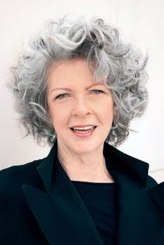 Image result for hairstyles for grey hair curly