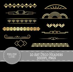 Gold Gatsby Clipart – Style Gold and Black Art Deco Dividers – 20 PNGs Included. Listing Includes: – 20 PNGs, High Resolution One . 20 Gatsby Style Headers, all… Motif Art Deco, Art Deco Pattern, Art Deco Design, Clipart, Bijoux Art Deco, Art Deco Jewelry, Art Nouveau, Black Art, Black Gold