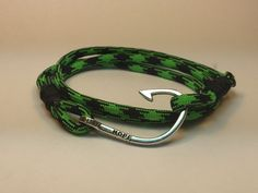 """Black And Green """"Viper"""" Triple Wrap Paracord Bracelet With Silver """"Hope"""" Fish Hook  #paracord #paracordbracelet #triplewrapbracelet #hope"""
