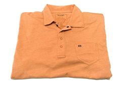 Travis Mathew L Orange Peach Solid Short Sleeve Snap Button Polo Large #TravisMathew #PoloRugby