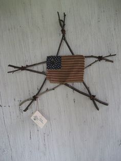 Americana Rustic Star with Primitive Flag -