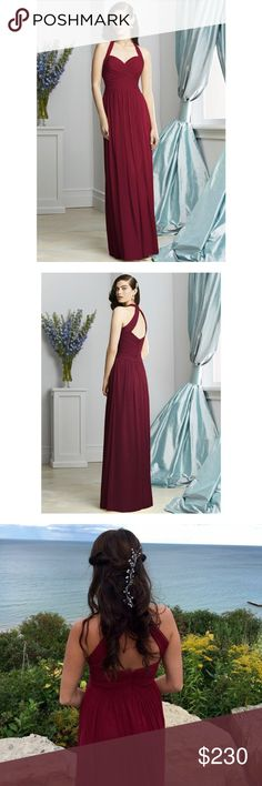 """Dessy Lux Chiffon Burgundy Bridesmaid Dress Size 8 Worn once! Full length lux chiffon dress w/ modified v-neck halter. Rouched bodice and midriff. Open back. Shirred skirt.  100% Polyester. Altered for 5'7"""" with 1.5 inch heels (far left in the group shot). A couple small alterations made-letting out about .5"""" to the waist and taking in the bust just a tad for a better fit. Worn once and dry cleaned. Ready to be worn for your next big occasion! Dessy Collection Dresses Prom"""