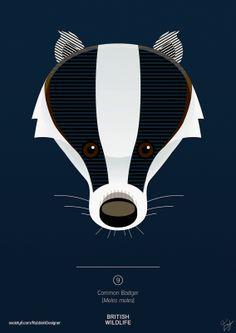 British Wildlife - Badger by rubbishdesigner Badger Illustration, Woodland Illustration, Illustration Art, Illustrations, Pebble Painting, Pebble Art, Stone Painting, Woodland Creatures, Woodland Animals