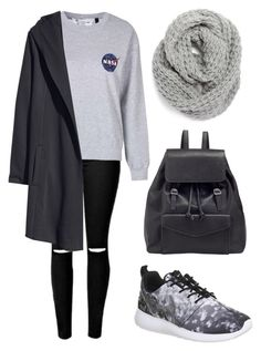 """""""Black and Grey"""" by sphinx-moth ❤ liked on Polyvore featuring Topshop, H&M, Halogen, John Lewis, NIKE, women's clothing, women, female, woman and misses"""