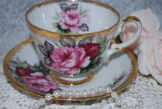 JAPAN Vintage China Teacup and Saucer /Pink by HoneyandBumble, $26.00