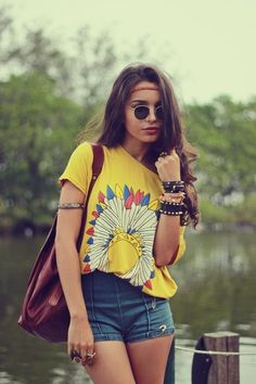 @roressclothes clothing ideas #women fashion yellow t-shirt, denim shorts summer boho