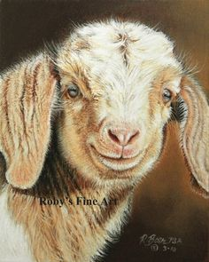 Goat Print Billy Goat Kid Barnyard Art by Roby Baer by RobyBaer