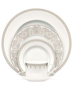 Waterford Dinnerware, Lismore Lace Platinum 5 Piece Place Setting - Fine China…