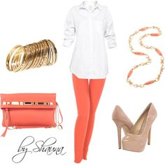 I'm all about coral jeans with nude pumps....LOVE!!, created by shauna-rogers on Polyvore