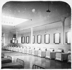 Dormitorio del Manicomio de Sant Boi [Sant Baudilio] de Llobregat, Barcelona. c. 1926. Conference Room, Table, Limbic System, Furniture, Barcelona, Home Decor, Insane Asylum, Yurts, Blue Prints