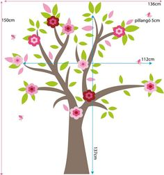 tree with flowers wall decal