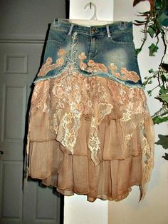 Ruffled lace jean skirt mauve rose tulle vintage lace pink tulle ruffles fairy goddess upcycled bohemian Renaissance Denim Couture - Jean Skirts - Ideas of Jean Skirts Lace Jeans, Denim And Lace, Lace Shorts, Skirt Outfits, Cool Outfits, Modest Outfits, Summer Outfits, Denim Ideas, Altered Couture