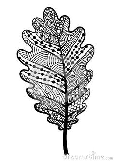 Zentangle Black And White Leaf Of The Tree Oak. Stock Vector ...