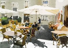 John Yardley ~ The Cafe at Peratallada Watercolor City, Watercolor Landscape, Watercolor And Ink, Watercolour Painting, Landscape Art, Watercolor Flowers, Landscape Paintings, Watercolors, Watercolor Pictures