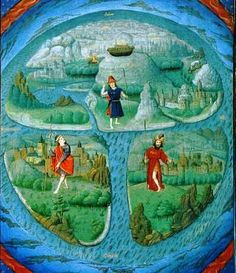 French medieval illuminated manuscript. Representation of the earth as a water droplet.