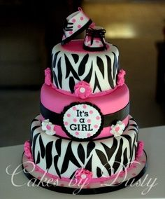 hot pink and white zebra Baby Shower Decorations | Pink Sweet Baby Girl Diaper Cake for Baby Shower Centerpiece…