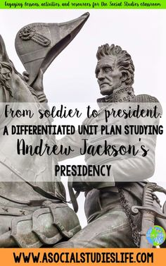 Comprehensive lessons, activities, readings and projects studying Andrew Jackson's presidency. Great for middle school! History Teachers, Teaching History, Us History, Andrew Jackson Presidency, Social Studies Classroom, School Levels, Writing Assignments, Unit Plan, American Soldiers