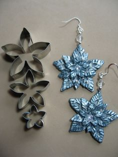 Easy Snow Flower or Snowflake earrings. These are highlighted with Lumiere paint and glitter and then sealed. There's a Swarovski crystal in the center. Available on Etsy through Artease Wearable Art.