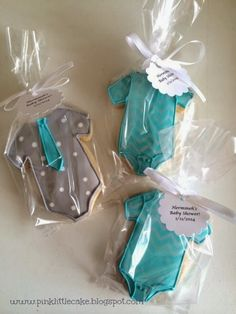 My Pink Little Cake: Aqua, Silver and Grey Chevron Baby Shower Cookies