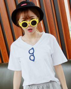 TC003807 Korean style bottoming shirt V-neck T-shirt