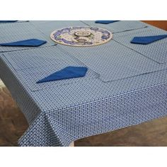 Royal Blue Macrabe printed table cover set #tablecovers #tablecoversonline