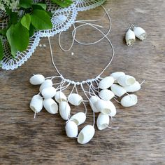 necklace white made of natural silk cocoon and от batikelena