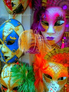 How I delight in these carnival masks. The colors, the varieties...love it! Best place to buy them...Venice! If you can't get to Venice you can still get them online.