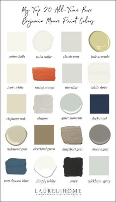 My 20 All-Time Favorite Benjamin Moore Paint Colors Neutral Paint Colors, Bedroom Paint Colors, Interior Paint Colors, Paint Colors For Home, House Colors, Gray Paint, Interior Design, Interior Paint Palettes, Country Paint Colors