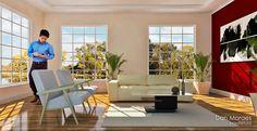 Render de Projeto Arquitetônico para Sala de Estar Moderna com Modelagem 3D em Sketchup e Edição em Photoshop.