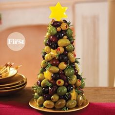 Olive - Christmas Tree Shaped Appetizers perfect for a Holiday Party!